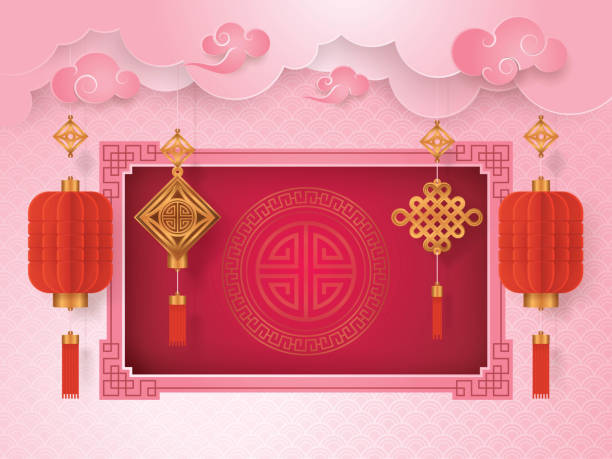 chinese new year greeting card with frame border asian art style vector art illustration