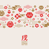Chinese New Year greeting card with patterns