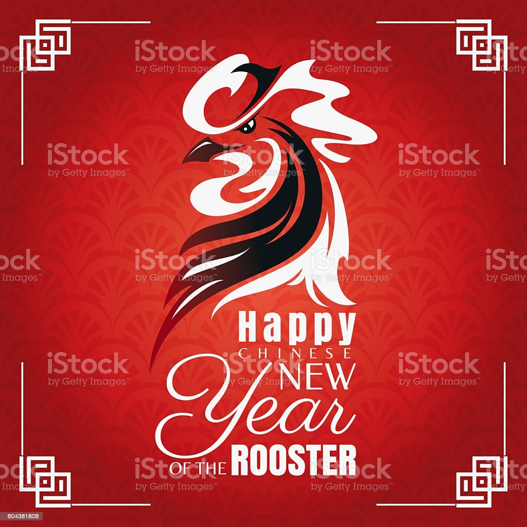 Chinese new year greeting card with rooster stock vector art more chinese new year greeting card with rooster royalty free chinese new year greeting card with kristyandbryce Image collections