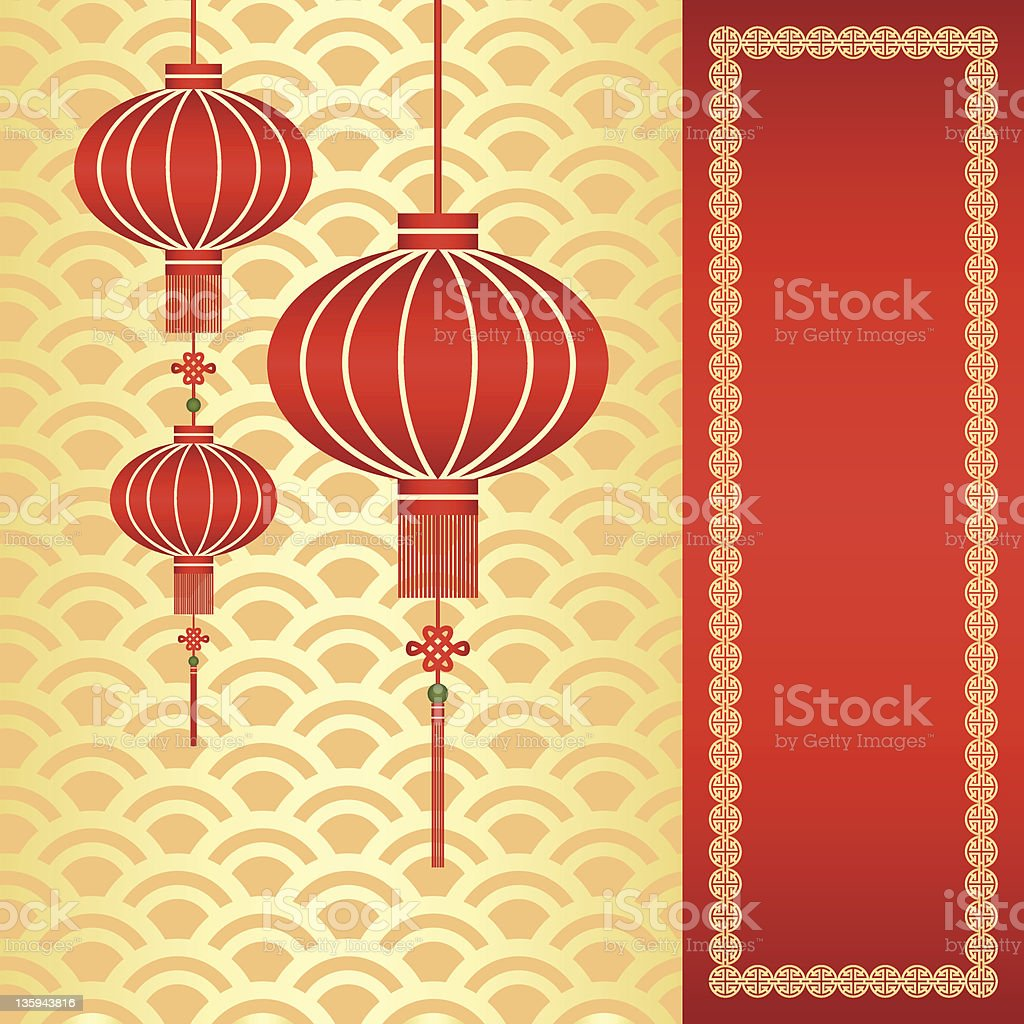 Chinese New Year Greeting Card With Traditional Lanterns Stock