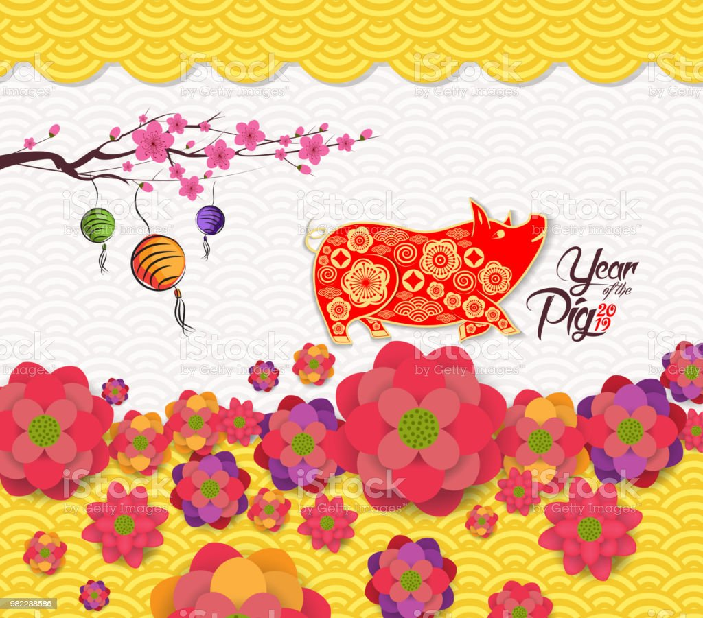 2019 chinese new year greeting card with traditionlal blooming border year of pig royalty