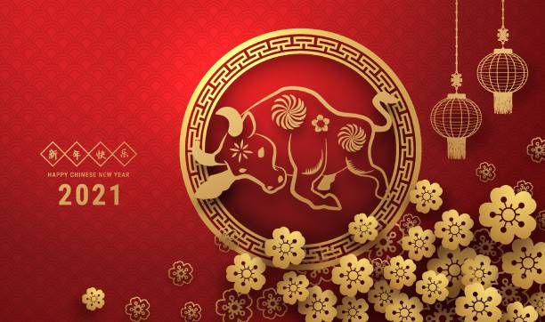 2021 중국 설날 인사말 카드 조디악 기호 종이 컷. ox의 해. 황금과 붉은 장식. 휴일 배너 템플릿, 장식 요소에 대한 개념입니다. 번역 : 2021년 새해 복기, - chinese new year stock illustrations