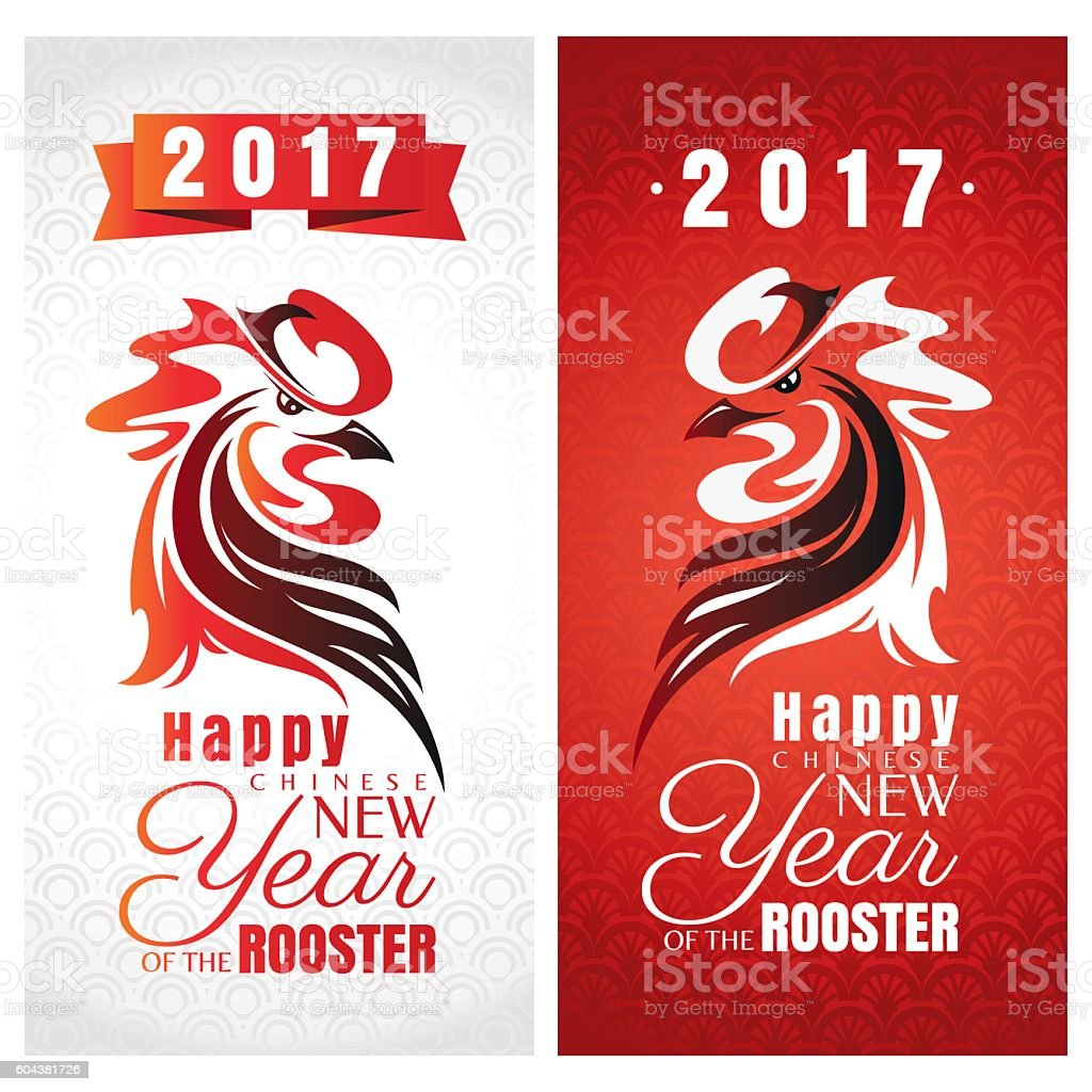 Chinese New Year Greeting Cards With Rooster Stock Vector Art More