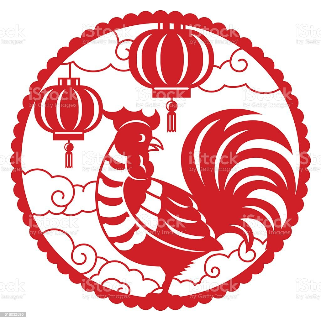 Chinese New Year Greeting Cardyear Of Rooster Stock Vector Art