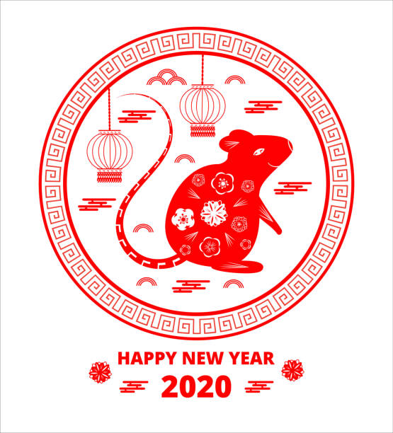 2020 Chinese New Year greeting round card with red rat silhouette, clouds, lantern, flowers 2020 Chinese New Year greeting round card with red rat silhouette, clouds, lantern, flowers on white background. Symbol of mouse flat design vector, plate, dish pattern for flyer, poster, web, app. taiwanese currency stock illustrations