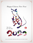 Chinese new year zodiac rat graphic art. 2020 the year of the rat.