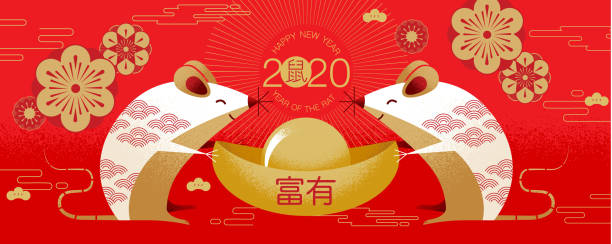 chinese new year , 2020, happy new year greetings, year of the rat ,cartoon character. - китайский новый год stock illustrations