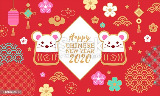 Chinese New Year holiday banner design. Happy New Year of the rat 2020. Vector illustration