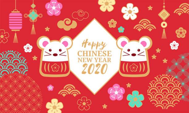 bildbanksillustrationer, clip art samt tecknat material och ikoner med kinesiskt nyår semester banner design. gott nytt år av råtta 2020. - kinesiska nyåret