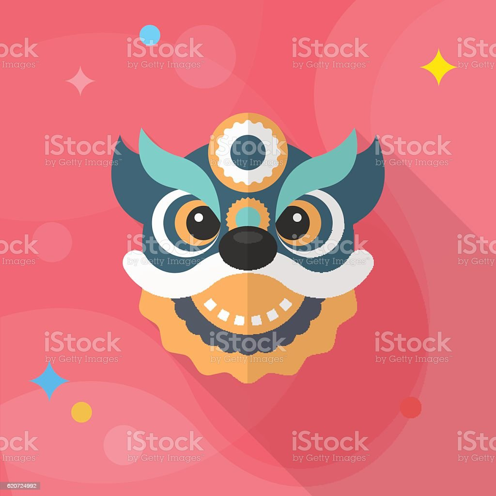Chinese New Year icon, flat long shadow design. vector art illustration