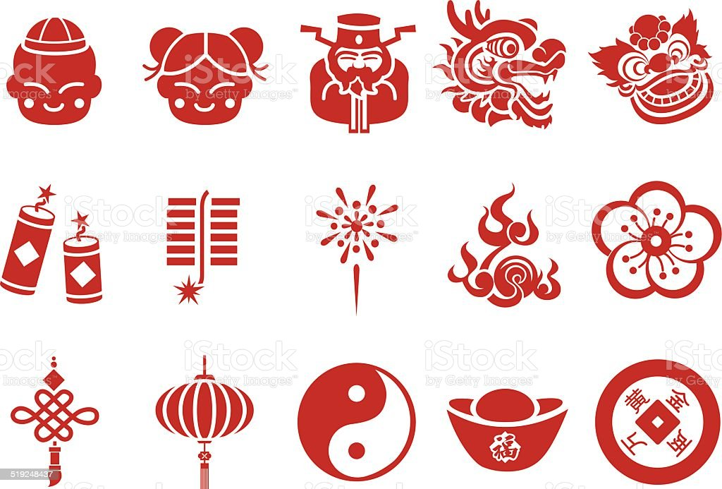 Chinese new year icons illustration stock vector art for Chinese vector