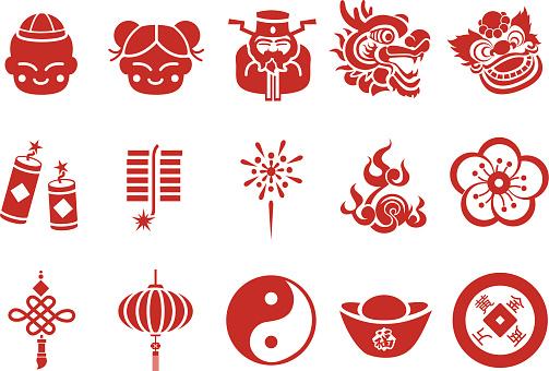 Chinese New Year icons - Illustration