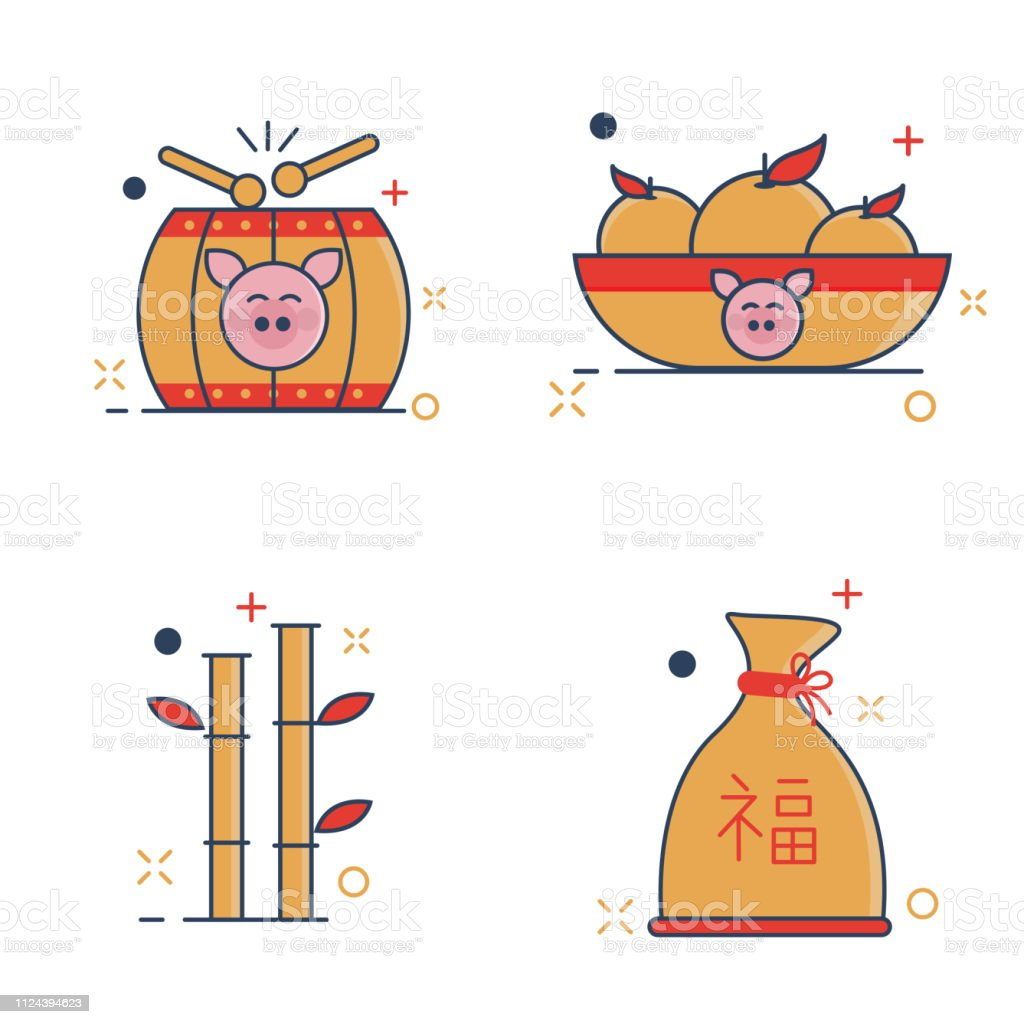 A Year Of Happiness chinese new year icons set happiness with outline filled