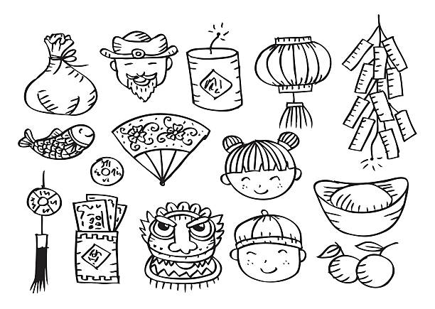 Chinese New Year Icons vector art illustration