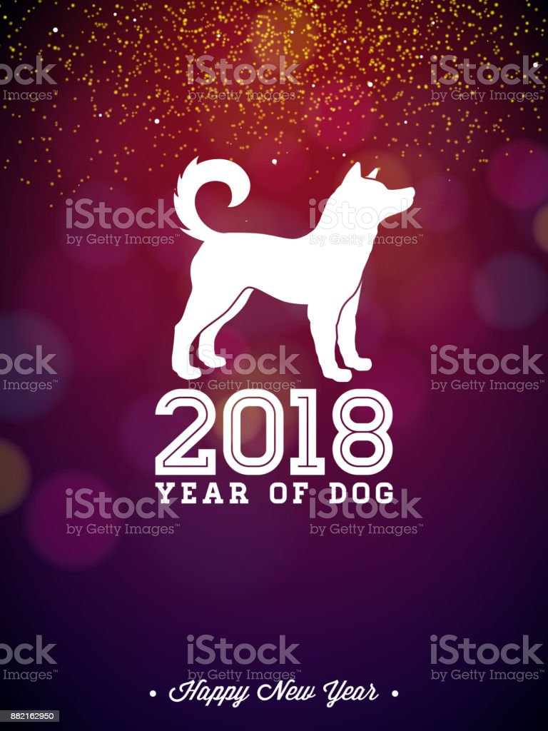 2018 chinese new year illustration with white symbol on shiny celebration background year of dog