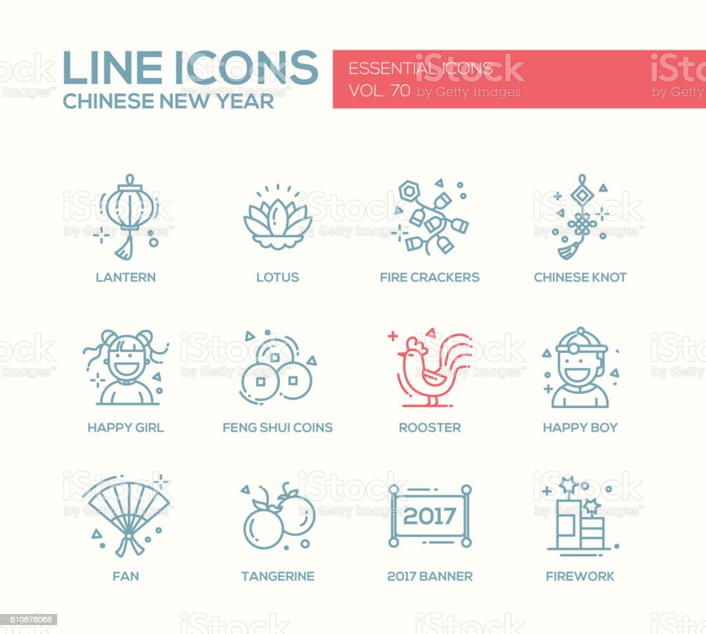 Chinese New Year - line design icons set vector art illustration