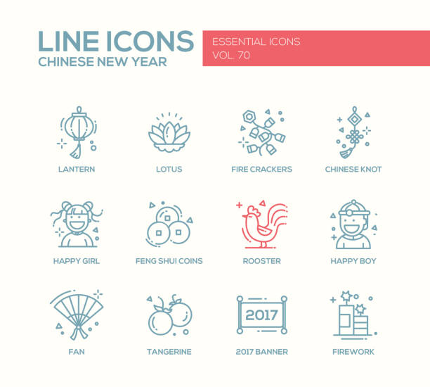 chinese new year - line design icons set - chinese new year stock illustrations