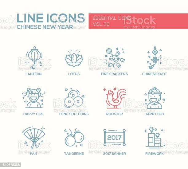 Chinese New Year Line Design Icons Set - Stockowe grafiki wektorowe i więcej obrazów Azja