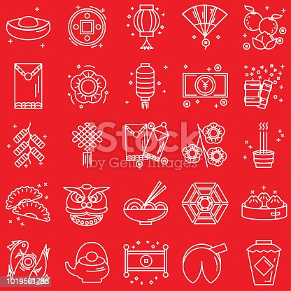 Chinese New Year Line Icon Set