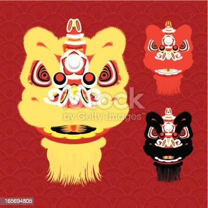 Vector illustration of 3 different Chinese New Year Lion Dance Head.