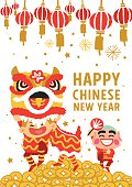 Chinese New Year Lion Dancing card