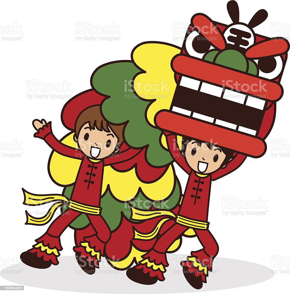 Chinese New Year Lion Dancing royalty-free chinese new year lion dancing stock illustration - download image now