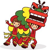 Vector illustration - Chinese New Year Lion Dancing.
