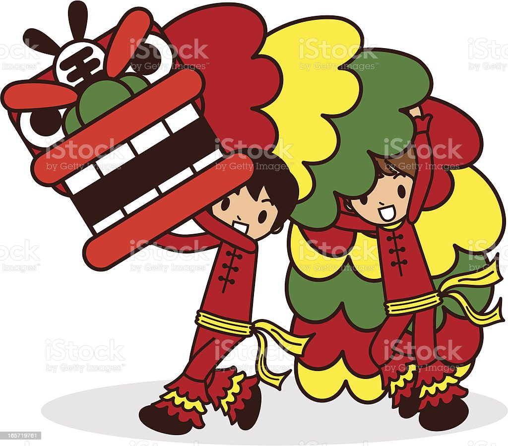 Chinese New Year Lion Dancing vector art illustration