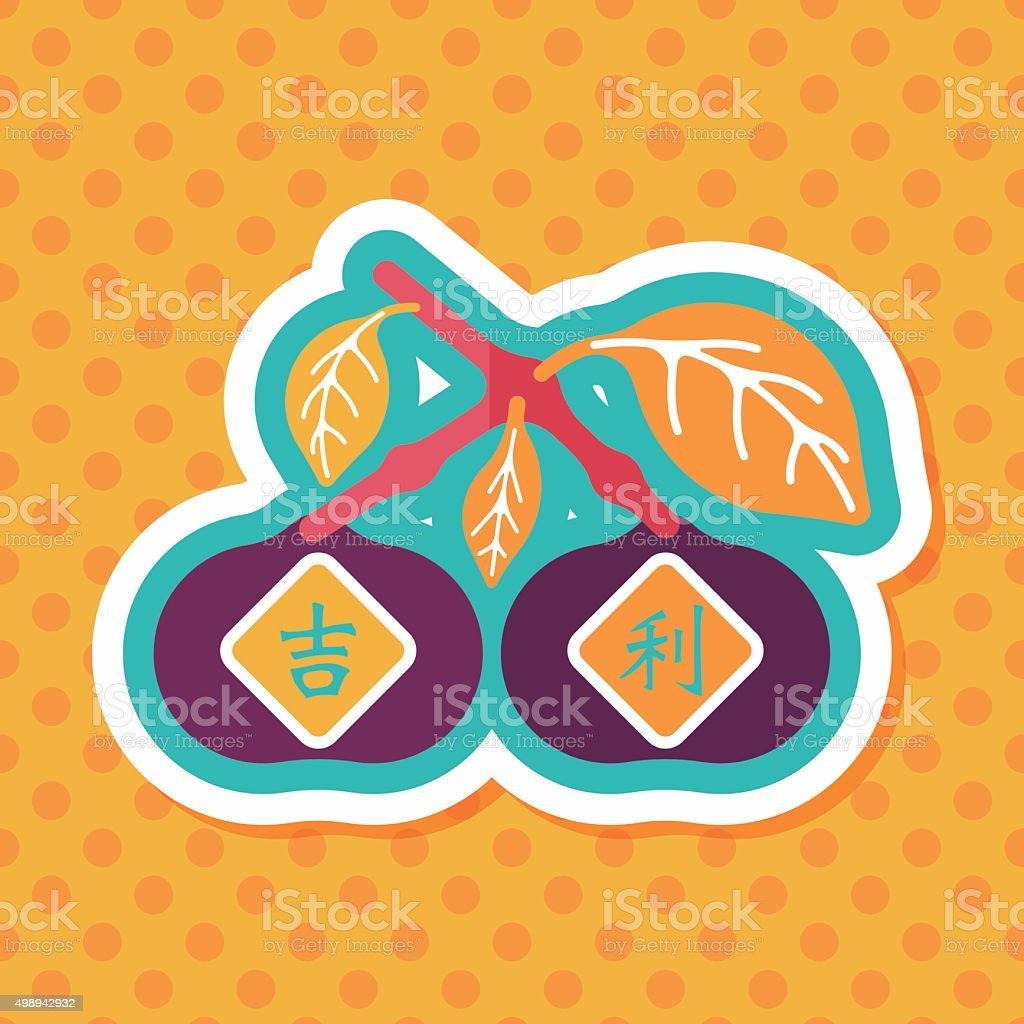 Chinesisches Neujahr Mandarinorangen Flach Icon Mit Langen Schatten ...
