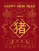 Chinese New Year 2019 greeting card illustration in traditional outline style with gold color asian decoration and calligraphy sign that means pig, fortune, prosperity wishes.