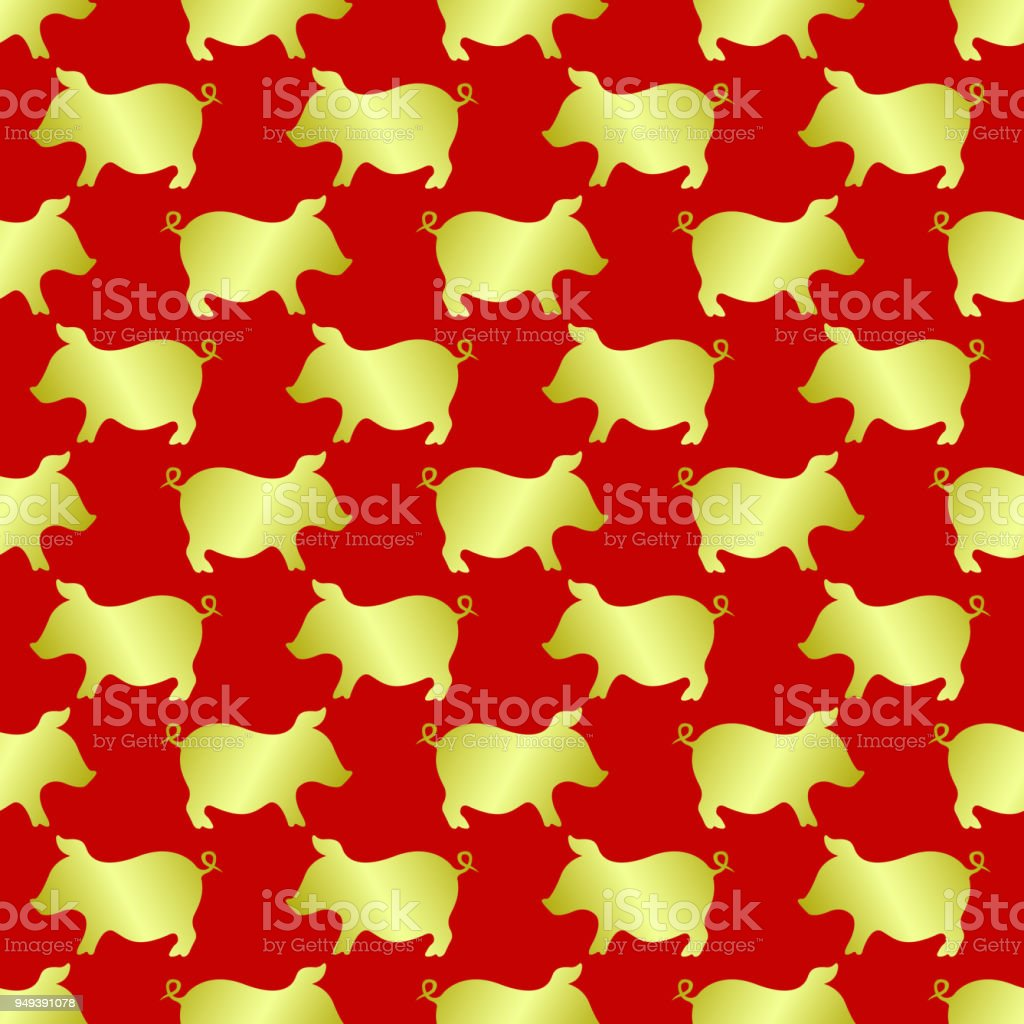 2019 chinese new year of pig seamless pattern with gold pork on red background