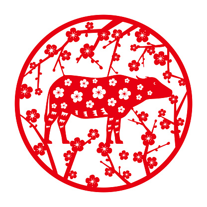 Chinese New Year of the asian buffalo, Paper-cuts for Window Decoration