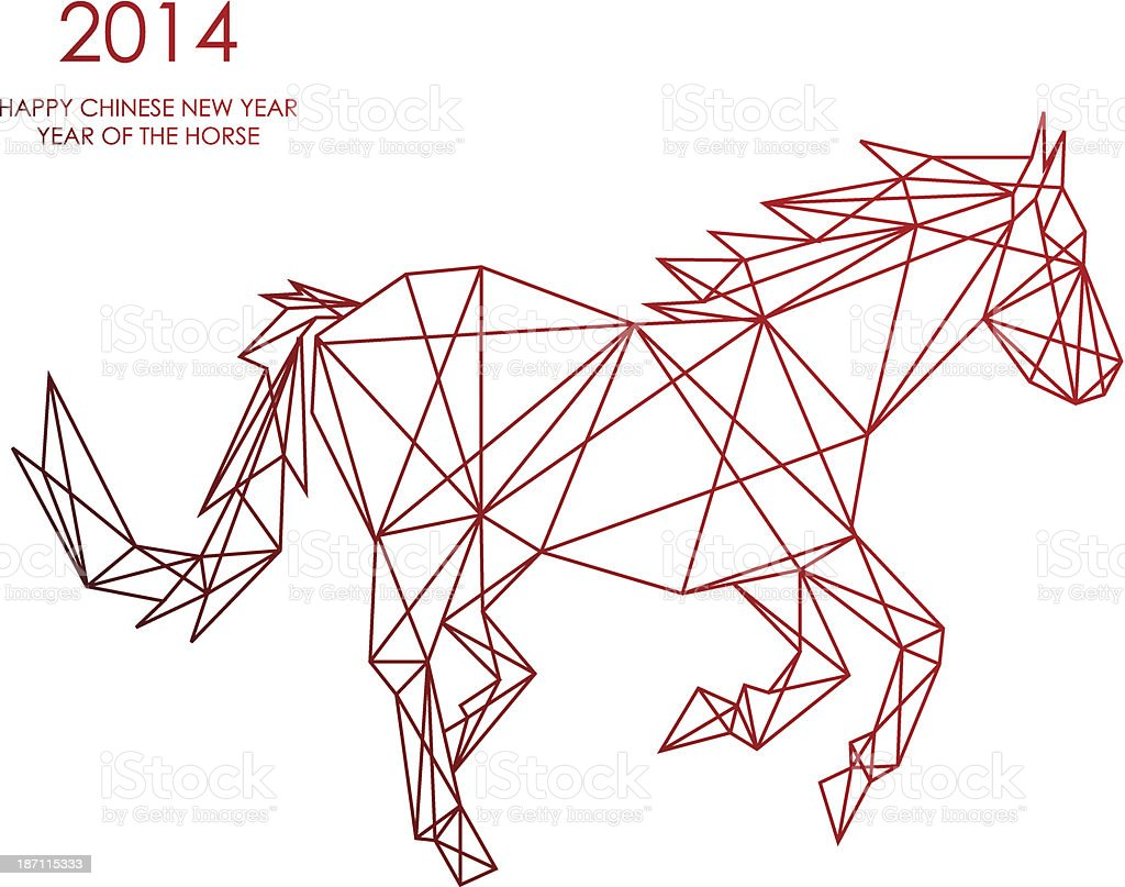Chinese New Year Of The Horse Triangle Web Shape File Stock