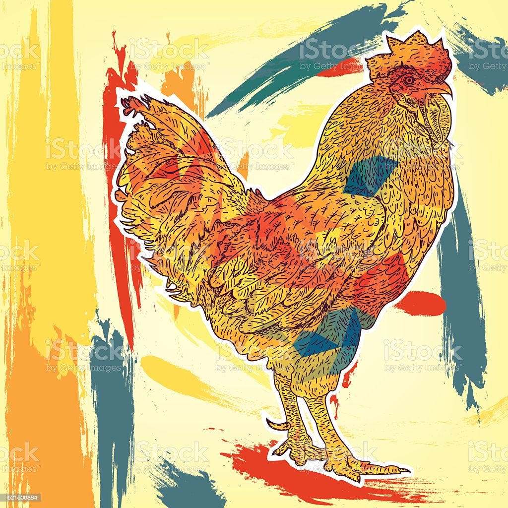 2017 Chinese New Year of the Rooster. Beautiful colorful Lizenzfreies 2017 chinese new year of the rooster beautiful colorful stock vektor art und mehr bilder von agrarbetrieb