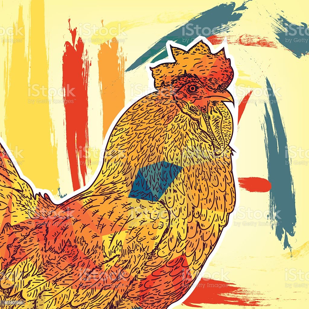 2017 Chinese New Year of the Rooster. Beautiful colorful, Lizenzfreies 2017 chinese new year of the rooster beautiful colorful stock vektor art und mehr bilder von agrarbetrieb