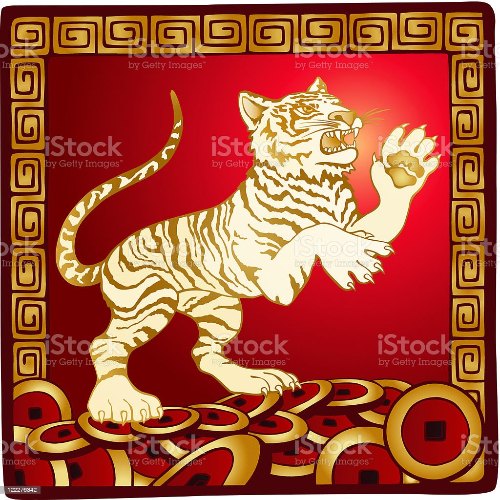 Chinese New Year of the Tiger - Red and Gold royalty-free stock vector art