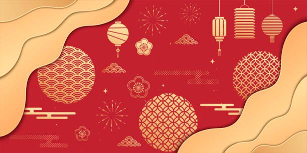 중국 설날 또는 봄 축제 요소 벡터 일러스트, 중국 새해 인사말 카드 또는 포스터 템플릿 - chinese new year stock illustrations