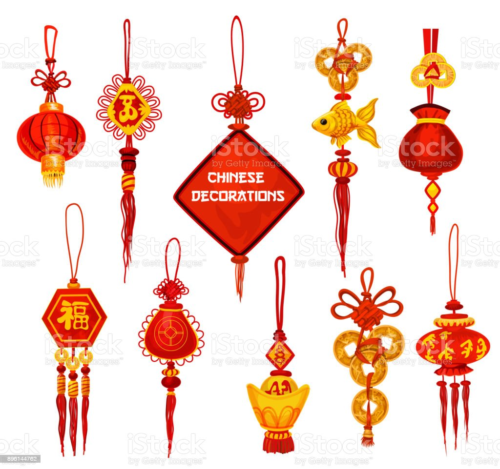 Chinese New Year ornament icon of lantern and coin vector art illustration