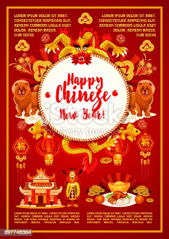 istock Chinese New Year ornaments vector greeting card 897748364