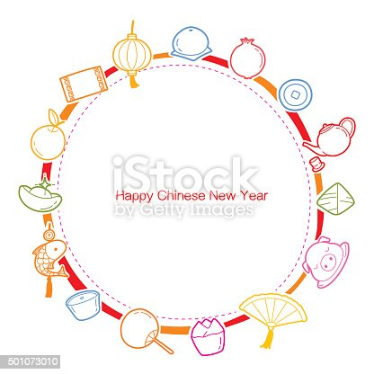 chinese new year outline icons set on round frame stock vector art more images of 2015 501073010 istock