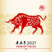 Celebrate the Year of the Ox 2021 with the red colored paper cut on floral background, the Chinese stamp means Ox and the Chinese phrase means Year of the Ox according to Chinese calendar