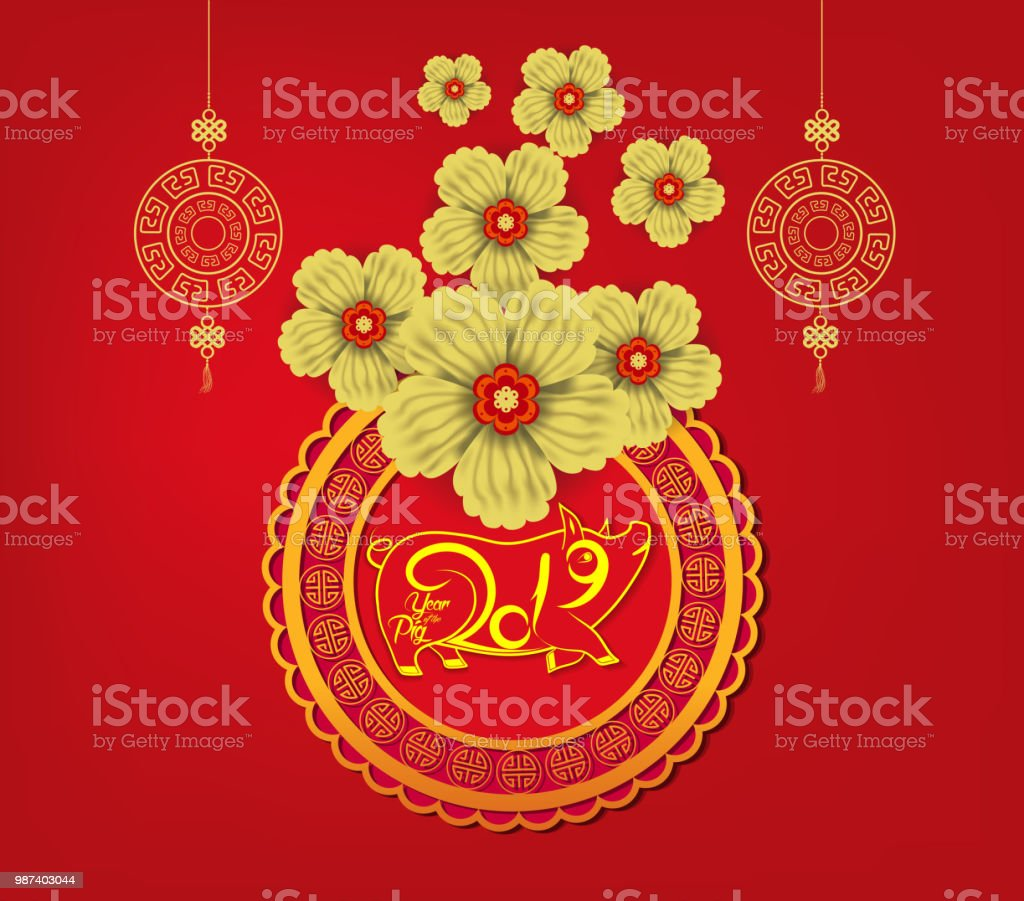 2019 Chinese New Year Paper Cutting Year Of Pig Vector Design For Your Greetings Card Flyers Invitation Posters Brochure Banners Calendar Stock