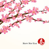 """Peach flower with chinese stamp """"Spring"""" for happy chinese new year."""