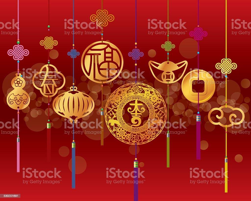 Chinesisches Neujahrdekoration Hintergrund Mit Anhänger Stock Vektor ...
