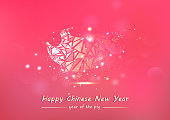 Chinese New Year, Pig gold glowing polygon stars glitter luxury pink abstract background, greeting card seasonal holiday vector illustration