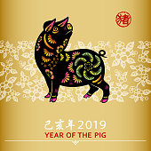 To Celebrate Chinese New Year with colorful pig paper art for the Year of the Pig 2019, the Chinese stamp means pig and the Chinese phrase means Year of the Pig