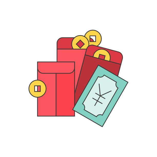 Chinese new year pocket money, gold coins, yuan bank and red envelope, filled outline icon vector art illustration