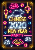 2020 Chinese New year poster in neon style. Celebrate invitation of asian lunar new year. Neon sign, bright banner. Party invitation design template. Vector illustration.