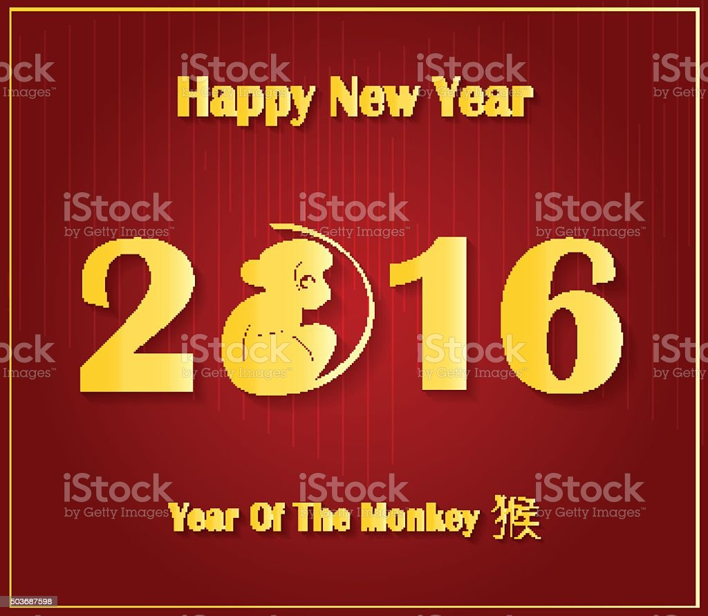 Chinese New Year poster. Year of the Monkey. Red Background. Vector...