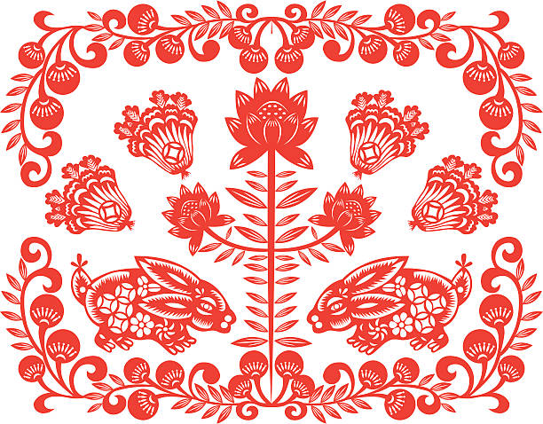 Chinese New Year rabbit Chinese style of paper cut for year of the rabbit.  animal markings stock illustrations